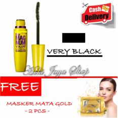 HOKI COD - Mascara The Fals Lash Volume Express - Maskara Waterproof - Model KUNING  Warna Hitam Premium Quality + Gratis Masker Mata Gold - 2 Pcs