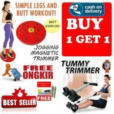 HOKI COD - Paket Alat Alat Olahraga Pelangsing Perut Magnetic Trimmer Jogging Plate dan Tummy Trimer - Multi Colour + Gratis Pulpen Lilin Unik Serba Guna Hitam Pekat - 1 Pcs