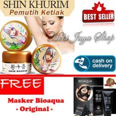HOKI COD  - Shin Khurim  Pemutih Ketiak dan Selangkangan Premium - 1 Pcs + Gratis BIOAQUA Masker Charcoal Black Mask - Masker Wajah Arang Aktif Alami Original Pengangkat Komedo - 1 Pcs