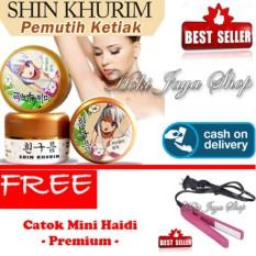 HOKI COD  - Shin Khurim  Pemutih Ketiak dan Selangkangan Premium - 1 Pcs + Gratis Haidi Catok Mini Pelurus Rambut - Multi Colour - 1 Pcs