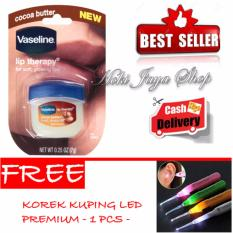 HOKI COD - Vaseline Lip Therapy Cocoa Butter Therapy Premium - 7Gr + Gratis Korek Kuping LED Premium Set - 1 Pcs
