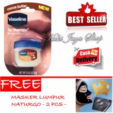 HOKI COD - Vaseline Lip Therapy Cocoa Butter Therapy Premium - 7Gr + Gratis Naturgo Masker Lumpur Hitam Pekat - 2 Pcs