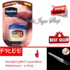 HOKI COD - Vaseline Lip Therapy Cocoa Butter Therapy Premium - 7Gr + Gratis Pinset Jepit Komedo Steinless Steel - 1 Pcs