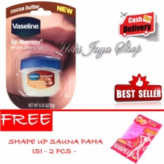 HOKI COD - Vaseline Lip Therapy Cocoa Butter Therapy Premium - 7Gr + Gratis Shape Up Sauna Paha Premium - Isi 2 Pcs