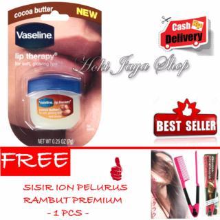 HOKI COD - Vaseline Lip Therapy Cocoa Butter Therapy Premium - 7Gr + Gratis Sisir Ion Pelurus Rambut Premium - 1 Pcs thumbnail