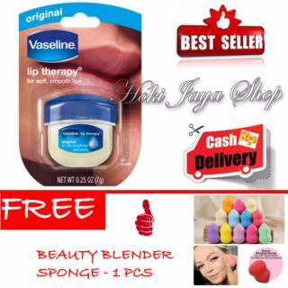 HOKI COD - Vaseline Lip Therapy Original Taste - 7gr + Gratis Beauty Blender Sponge Premium - 1 Pcs thumbnail