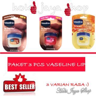 HOKI COD - Vaseline Lip Therapy Rosy Lips Therapy Premium - 1 Pcs Dan Cocoa Butter - 1 Pcs Dan Creme Brulee - 1 Pcs thumbnail