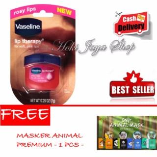 HOKI COD - Vaseline Lip Therapy Rosy Lips Premium Therapy - 1 Pcs + Gratis SNP Masker Animal Premium - 1 Pcs thumbnail