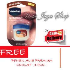 HOKI - Vaseline Lip Therapy Cocoa Butter Therapy Premium - 7Gr + Gratis Pensil Alis Premium Coklat - 1 Pcs