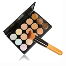 Panas 15 Warna Kontur Krim Wajah Makeup Palet Concealer Kuas Bedak-Intl