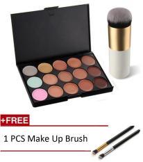 Hot Fashion Girl Charming Beauty Camouflage Cream Contour Palette+1 PC Brush Set 15 Colors Face Concealer - intl