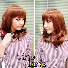 Hot Gaya Jepang Keriting Rambut Wig dengan Rapi Alis Bang Flaxen