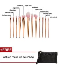 Spesifikasi Hot New 12 Pcs Set Powder Foundation Makeup Brushes Set Pro Eye Shadow Alis Blush Contour Bibir Menyikat Brushes Kosmetik Makeup Alat Internasional Bagus