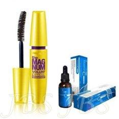 JBS Mascara The Fals Lash Volume Express - Mascara Waterproof - Hitam - Serum Vitamin C + Collagen By Jaya Mandiri BPOM Biru - 1 Botol