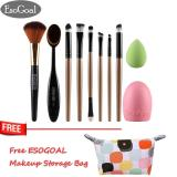 Spesifikasi Jvgood 10Pcs Makeup Eyeshadow Brushes Set Foundation Brush And Cleaning Egg Toothbrush Powder Puff Essential Make Up Tools Kit For Professional And Personal Use Online