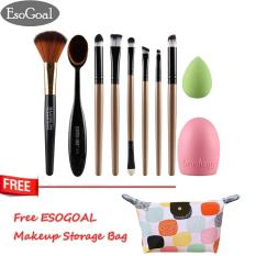 Jual Jvgood 10Pcs Makeup Eyeshadow Brushes Set Foundation Brush And Cleaning Egg Toothbrush Powder Puff Essential Make Up Tools Kit For Professional And Personal Use Branded Original