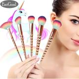 Review Jvgood Newest 5 Pcs Professional Unicorn Makeup Brush Set Muliticolor Soft Bristles With Golden Alicorn Handle Cosmetics Brush Kit