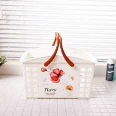 Kecil Bunga Merah Plastik Portabel Keranjang Mandi