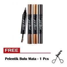 Kiss Beauty - Tinted Tattoo Kill Brow 2 in 1 / Tato Alis dan Maskara + Free Pelentik Bulu Mata - 1 Pcs