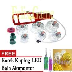 Kop Angin / Alat Bekam Isi 6 Cup Merah +Gratis 1 Pcs Korek kuping LED + 1 Pcs Bola Akupuntur