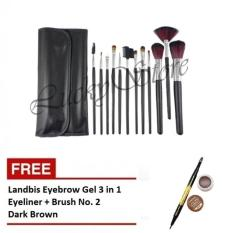 Promo Kuas Make Up 12 Pcs Free Landbis Eyebrow Gel 3 In 1 Eyeliner Brush No 02 Dark Brown Lucky Terbaru