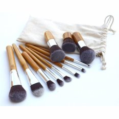Kuas Make Up Gagang Kayu - Wood Brush Kabuki Foundation Powder Blush On Eyeshadow Shading Contouring Brush - Set Isi 11 Pcs