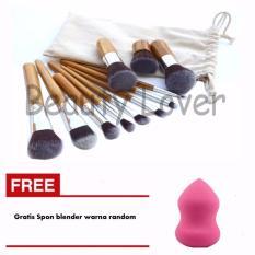 Kuas Make Up Set 11 Pcs Bamboo Handle Premium Synthetic Kabuki Foundation Blending Blush Concealer Eye Face Liquid Powder Cream Cosmetics Brushes Kit Free Spon Blender