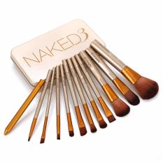 Kuas Make Up Naked3 Set Kemasan Kaleng Makeup Brush 12Pc N*k*d Diskon