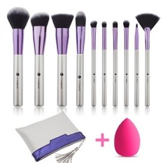 L COSMETIC(TM) Makeup Brushes Set Professional 10 Pcs Eyeshadow Lip Concealer Powder Brushes Kit Cosmetics Brush Set with Travel
