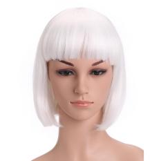 Harga Wanita Datar Bang Pendek Lurus Bang Bob Rambut Wig For Halloween Natal Pesta Cosplay Putih Original