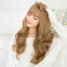 Harga Termurah Ladies Temperamen Bagian Panjang Qi Liu Big Wave Ikal Wig Sets Linen Platinum Intl