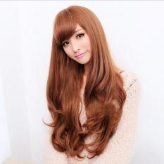 Promo Wanita Lembut Rambut Sintetis Wig Cosplay Gelombang Panjang Partai Coklat Oem Terbaru