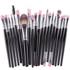 Cuci Gudang Lalang 20 Buah Set Kuas Rias Bibir Dengan Pensil Alas Bedak Kosmetik Alat Kecantikan Kit Hitam Silver International