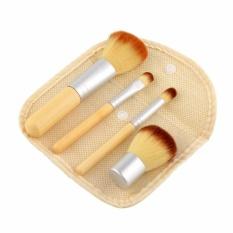 Jual Lalang 4 Pcs Bambu Handle Comestic Brushes Wanita Kuas Make Up Set With Gunny Bag Kuning Baru