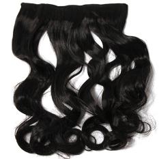 LALANG Wanita Klip Di Ekstensi Rambut Sintetis Rambut Keriting (hitam)