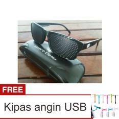 Lanjarjaya Kacamata Terapi Pinhole glasses tipe Tp-01 (bonus box) + Kipas Angin USB