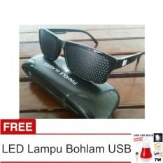 Lanjarjaya Kacamata Terapi Pinhole glasses tipe Tp-01 (bonus box) + LED Lampu Bohlam USB