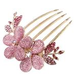 Jual Cepat Leegoal Pesona Fashion Rambut Pengantin Jepit Rambut Kristal Berlian Imitasi Berwarna Merah Muda Internasional