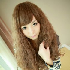 Seperti Kehidupan Miring Poni Rambut Palsu Panjang Dikeriting Ikal Rambut Wig Jagung Berbulu Coklat Muda-