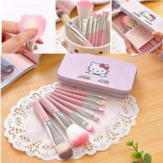 Make Up Brush 7 Pc Kitty Kuas MakeUp Professional Foundation Lip Eyeshadow Shader Brush Cosmetic - Pink
