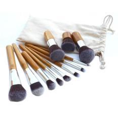 Jual Makeup Brush Kuas Make Up Bamboo Set Pouch 11 Pcs No Brand