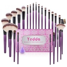 Makeup Brush Set, Yedda 24 + 1 Pieces Makeup Brushes Gift Set Profesional untuk Blending Foundation Blush Concealer Eye Shadow Brush dengan Kecantikan Silicone Blender dan Kotak Hadiah Natal-Intl