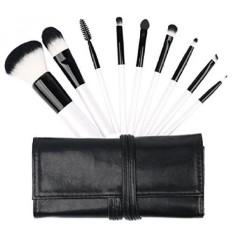 Makeup Brushes-Mini Premium Kuas Kosmetik Set Alas Bedak Padat Blush Eyeliner Bedak Brush Kit dengan Travel Case (9 PC-Intl