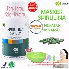 Jual Masker Spirulina Tiens Herbal Pemutih Wajah Paket 20 Kapsul Gratis Kuas Jawa Timur Murah