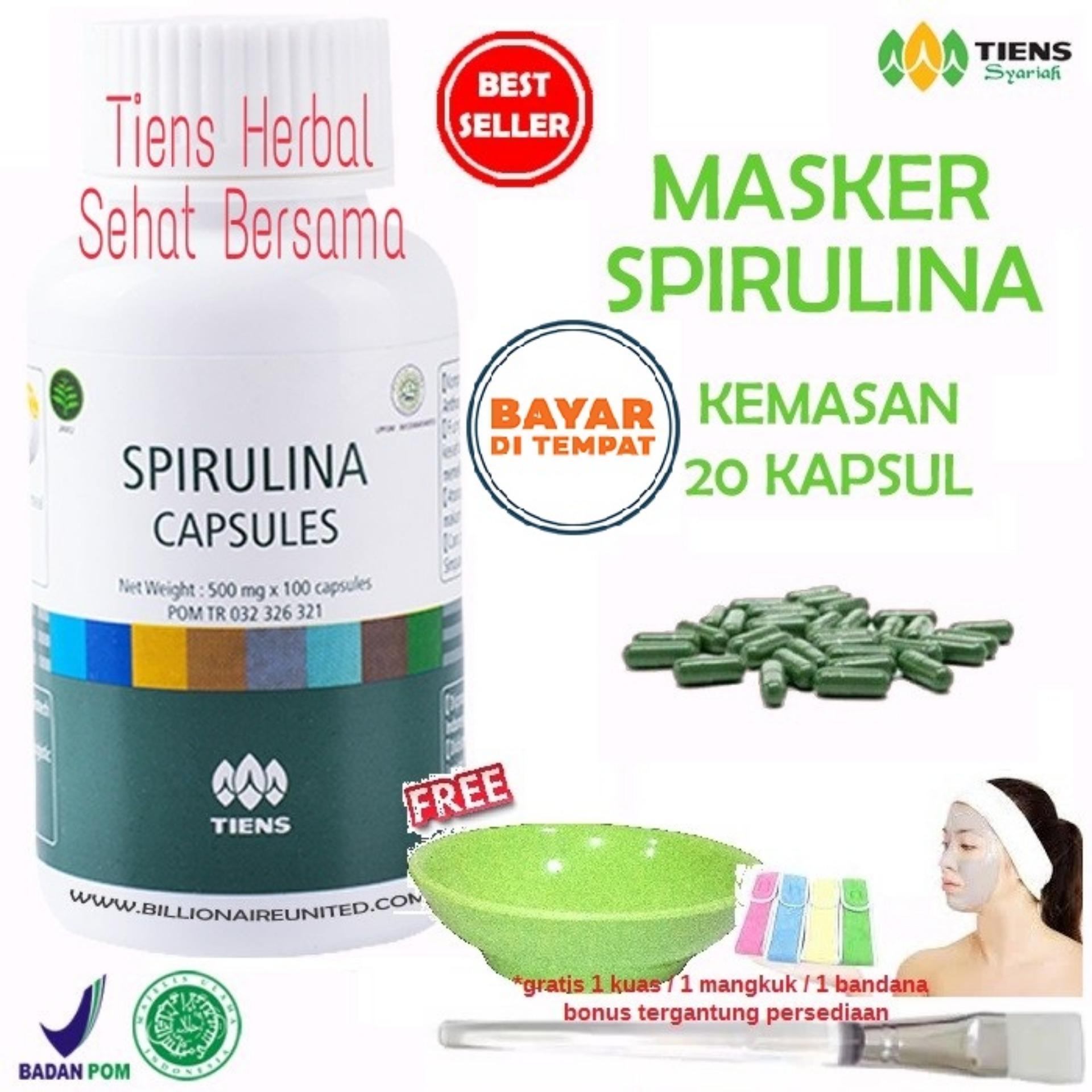 Herbal Alami Masker Spirulina Tiens Herbal Pemutih Wajah Paket 20 Kapsul Gratis Kuas