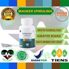 Info Sehat - Masker wajah spirulina herbal tiens 10 kapsul (Obat jerawat) (FREE KUAS + PLATE)