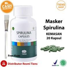 Masker Wajah Spirulina Tiens Herbal 20 Kapsul + Kuas + Free Gift by TS1