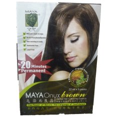 Spesifikasi Maya Onyx Brown Herbal Hair Colouring Essence 22Ml X 5 Packs Pewarna Rambut Lengkap Dengan Harga