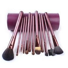 Megaga Makeup Brushes-Studio Quality Natural Cosmetic Brush Set with cup Holder Leather Case , 13 Count (Purple) by Megaga Cosme