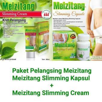 Meizitang Slimming Capsule BPOM Original 100% - 30 Kapsul + Meizitang Hot Slimming Cream Krim Pelangsing Original 100% BPOM - 80mL